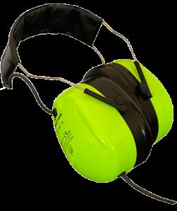 Neongelb-grüne Kopfhörer, freigestellt