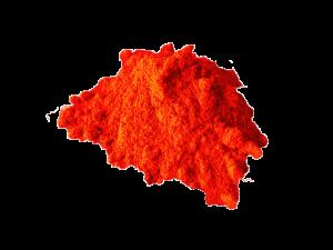 Leuchtend rotes Pulver ist zu sehen.
